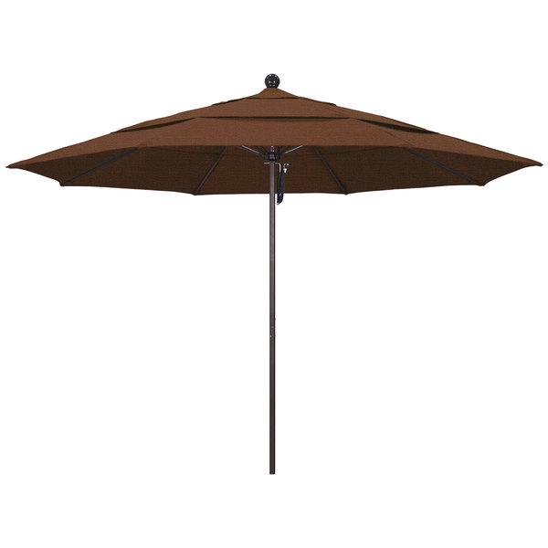 "Teak Fabric California Umbrella ALTO 118 OLEFIN Venture 11' Round Pulley Lift Umbrella with 1 1/2"" Bronze Aluminum Pole - Olefin Canopy"