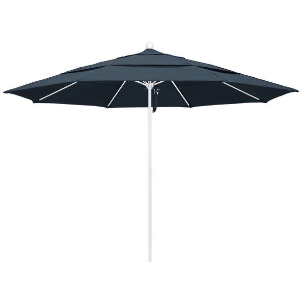 """Sapphire Blue Fabric California Umbrella ALTO 118 PACIFICA Venture 11' Round Pulley Lift Umbrella with 1 1/2"""" Matte White Aluminum Pole - Pacifica Canopy"""