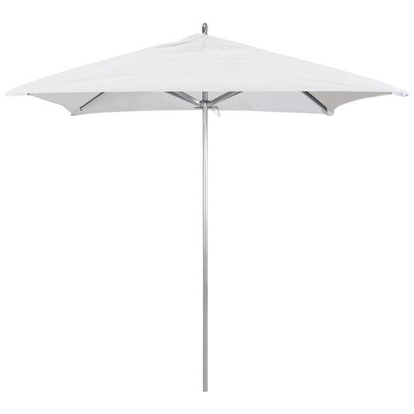 "Natural Fabric California Umbrella AAT 75754 SUNBRELLA 1A Rodeo Customizable 7 1/2' Square Push Lift Umbrella with 1 1/2"" Aluminum Pole - Sunbrella 1A Canopy"