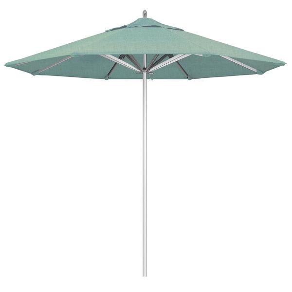 "Spa Fabric California Umbrella AAT 908 SUNBRELLA 1A Rodeo Customizable 9' Round Push Lift Umbrella with 1 1/2"" Aluminum Pole - Sunbrella 1A Canopy"