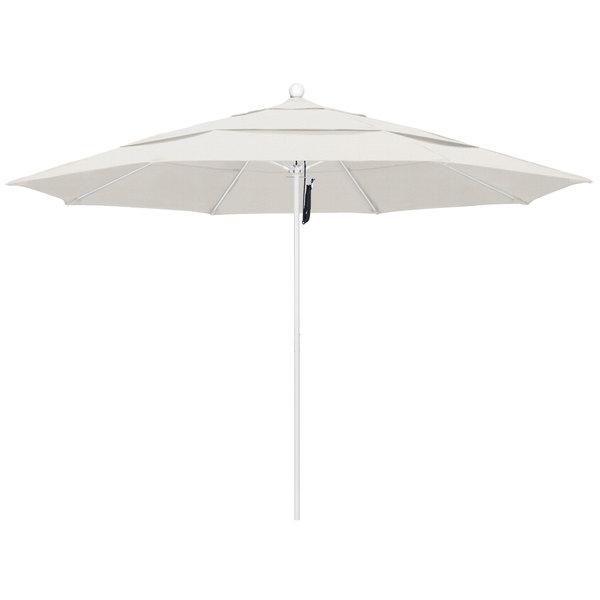 """Woven Granite Fabric California Umbrella ALTO 118 OLEFIN Venture 11' Round Pulley Lift Umbrella with 1 1/2"""" Matte White Aluminum Pole - Olefin Canopy"""