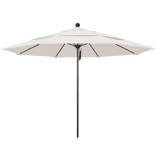 """Woven Granite Fabric California Umbrella ALTO 118 OLEFIN Venture 11' Round Pulley Lift Umbrella with 1 1/2"""" Bronze Aluminum Pole - Olefin Canopy"""