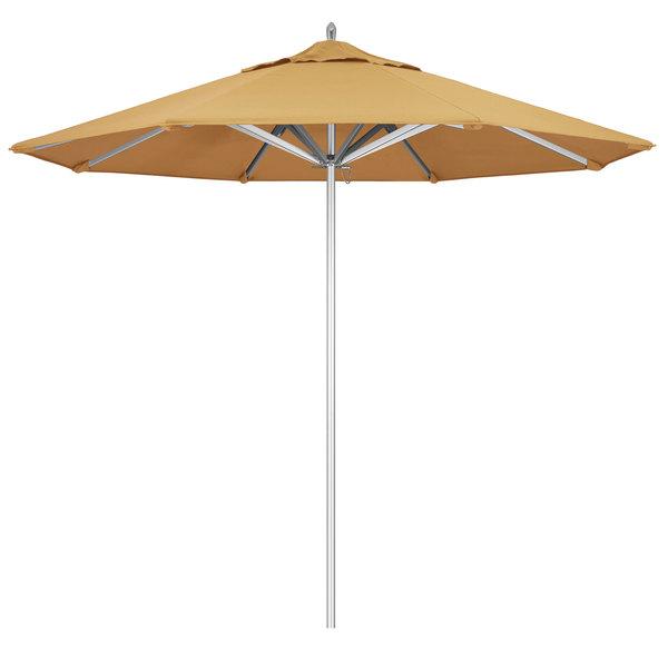 "Wheat Fabric California Umbrella AAT 908 SUNBRELLA 1A Rodeo 9' Round Push Lift Umbrella with 1 1/2"" Aluminum Pole - Sunbrella 1A Canopy"