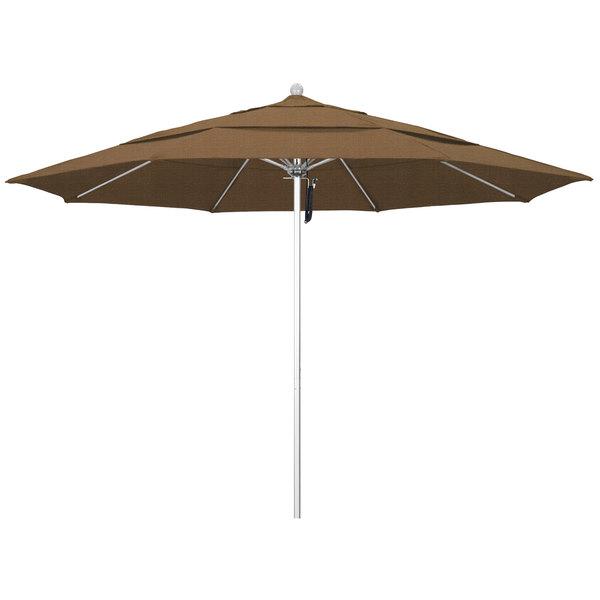 """Woven Sesame Fabric California Umbrella ALTO 118 OLEFIN Venture 11' Round Pulley Lift Umbrella with 1 1/2"""" Silver Anodized Aluminum Pole - Olefin Canopy"""
