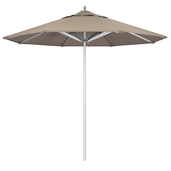 "Beige Fabric California Umbrella AAT 908 SUNBRELLA 1A Rodeo 9' Round Push Lift Umbrella with 1 1/2"" Aluminum Pole - Sunbrella 1A Canopy"