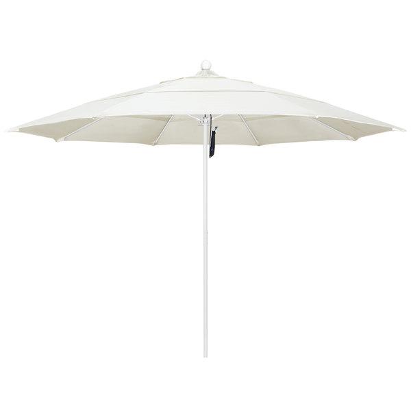 """Canvas Fabric California Umbrella ALTO 118 PACIFICA Venture 11' Round Pulley Lift Umbrella with 1 1/2"""" Matte White Aluminum Pole - Pacifica Canopy"""