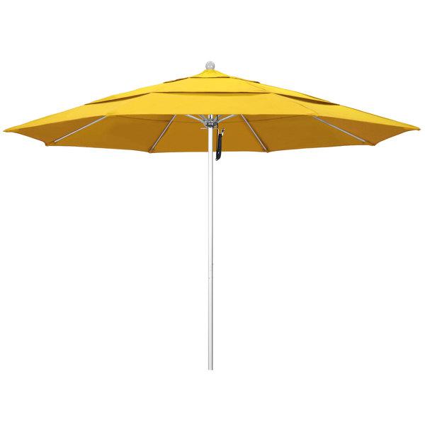 "Lemon Fabric California Umbrella ALTO 118 OLEFIN Venture 11' Round Pulley Lift Umbrella with 1 1/2"" Silver Anodized Aluminum Pole - Olefin Canopy"