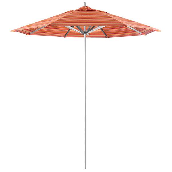 "Dolce Mango Fabric California Umbrella AAT 758 SUNBRELLA 1A Rodeo 7 1/2' Round Push Lift Umbrella with 1 1/2"" Aluminum Pole - Sunbrella 1A Canopy"
