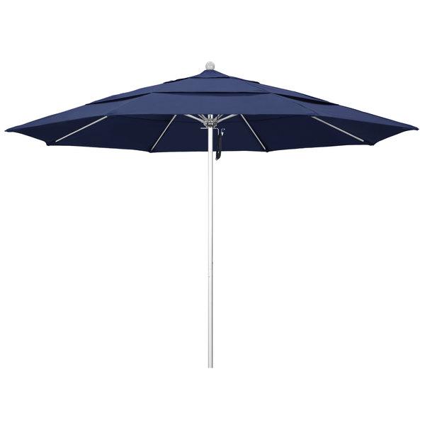 "Navy Fabric California Umbrella ALTO 118 OLEFIN Venture 11' Round Pulley Lift Umbrella with 1 1/2"" Silver Anodized Aluminum Pole - Olefin Canopy"