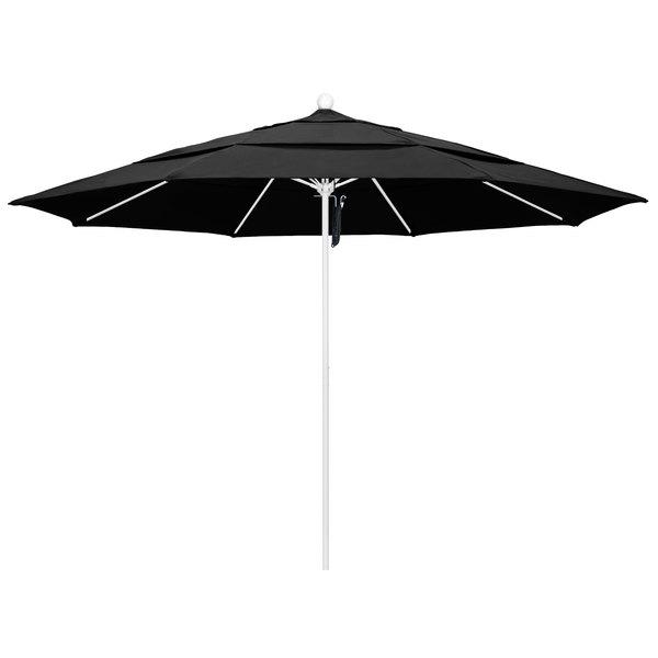 """Black Fabric California Umbrella ALTO 118 OLEFIN Venture 11' Round Pulley Lift Umbrella with 1 1/2"""" Matte White Aluminum Pole - Olefin Canopy"""