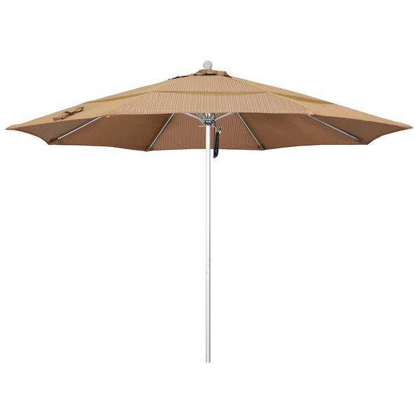 "Terrace Sequoia Fabric California Umbrella ALTO 118 OLEFIN Venture 11' Round Pulley Lift Umbrella with 1 1/2"" Silver Anodized Aluminum Pole - Olefin Canopy"
