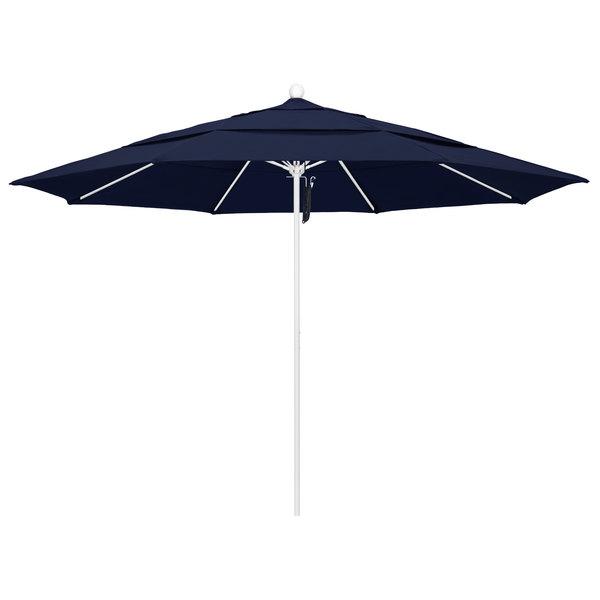 "Navy Fabric California Umbrella ALTO 118 OLEFIN Venture 11' Round Pulley Lift Umbrella with 1 1/2"" Matte White Aluminum Pole - Olefin Canopy"