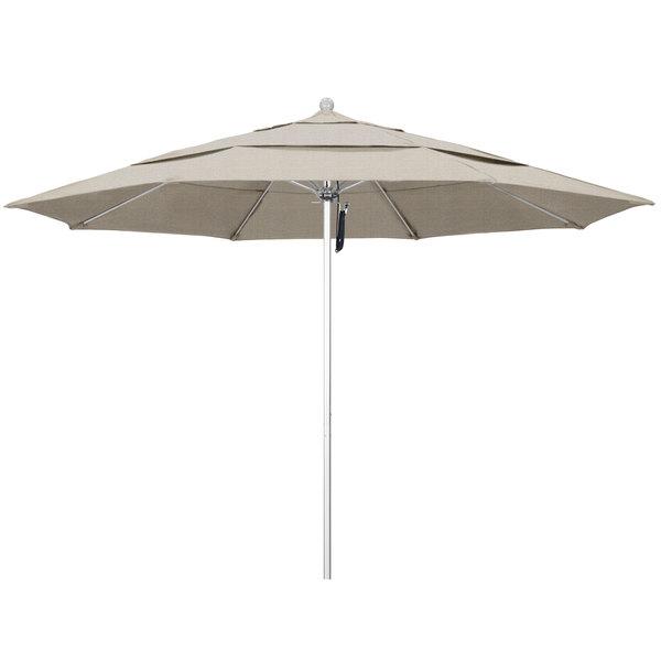 """Woven Granite Fabric California Umbrella ALTO 118 OLEFIN Venture 11' Round Pulley Lift Umbrella with 1 1/2"""" Silver Anodized Aluminum Pole - Olefin Canopy"""