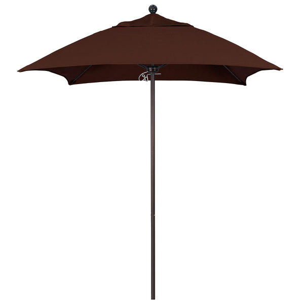 "Bay Brown Fabric California Umbrella ALTO 604 SUNBRELLA 2A Venture 6' Square Push Lift Umbrella with 1 1/2"" Bronze Aluminum Pole - Sunbrella 2A Canopy"