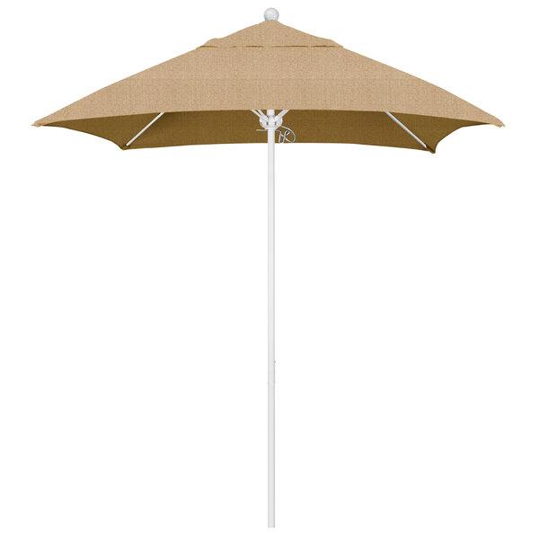 """Linen Sesame Fabric California Umbrella ALTO 604 SUNBRELLA 2A Venture 6' Square Push Lift Umbrella with 1 1/2"""" Matte White Aluminum Pole - Sunbrella 2A Canopy"""