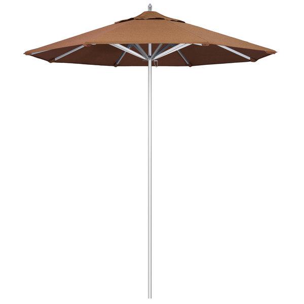 "Teak Fabric California Umbrella AAT 758 SUNBRELLA 1A Rodeo 7 1/2' Round Push Lift Umbrella with 1 1/2"" Aluminum Pole - Sunbrella 1A Canopy"