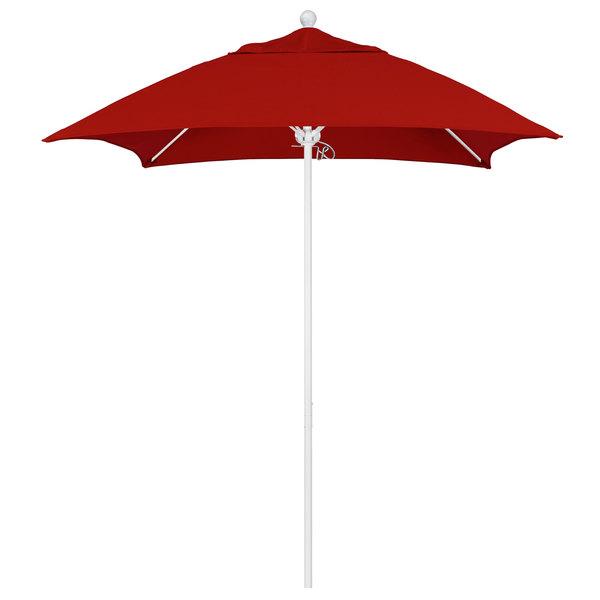 """Jockey Red Fabric California Umbrella ALTO 604 SUNBRELLA 2A Venture 6' Square Push Lift Umbrella with 1 1/2"""" Matte White Aluminum Pole - Sunbrella 2A Canopy"""