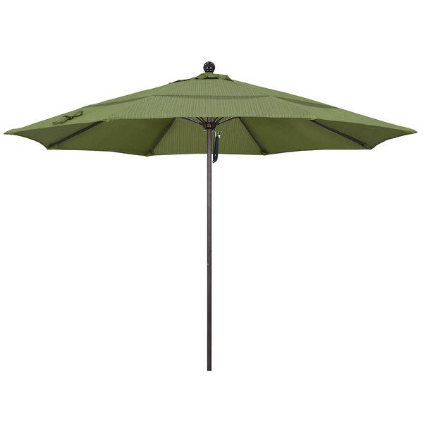 "Terrace Fern Fabric California Umbrella ALTO 118 OLEFIN Venture 11' Round Pulley Lift Umbrella with 1 1/2"" Bronze Aluminum Pole - Olefin Canopy"