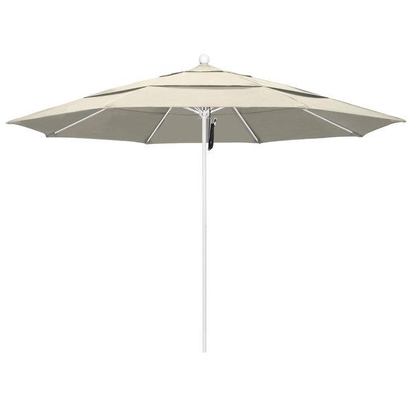"Beige Fabric California Umbrella ALTO 118 OLEFIN Venture 11' Round Pulley Lift Umbrella with 1 1/2"" Matte White Aluminum Pole - Olefin Canopy"