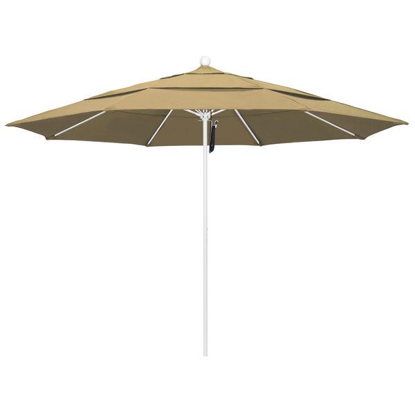 """Champagne Fabric California Umbrella ALTO 118 OLEFIN Venture 11' Round Pulley Lift Umbrella with 1 1/2"""" Matte White Aluminum Pole - Olefin Canopy"""