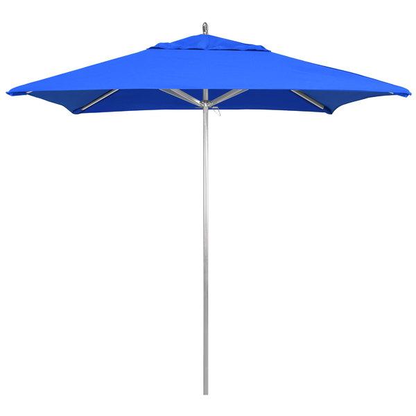 "Pacific Blue Fabric California Umbrella AAT 75754 SUNBRELLA 1A Rodeo 7 1/2' Square Customizable Push Lift Umbrella with 1 1/2"" Aluminum Pole - Sunbrella 1A Canopy"