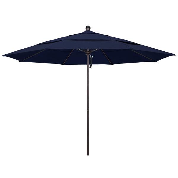 "Navy Fabric California Umbrella ALTO 118 OLEFIN Venture 11' Round Pulley Lift Umbrella with 1 1/2"" Bronze Aluminum Pole - Olefin Canopy"
