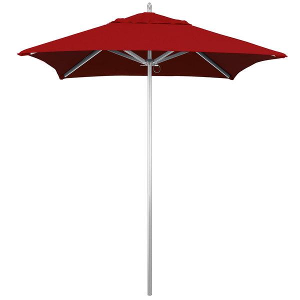 """California Umbrella AAT604002-5403 SUNBRELLA 2A Rodeo 6' Square Push Lift Umbrella with 1 1/2"""" Aluminum Pole - Red Sunbrella 2A Canopy"""