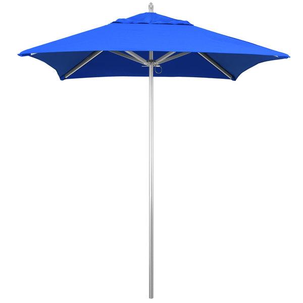 "Pacific Blue Fabric California Umbrella AAT 604 SUNBRELLA 1A Rodeo Customizable 6' Square Push Lift Umbrella with 1 1/2"" Aluminum Pole - Sunbrella 1A Canopy"