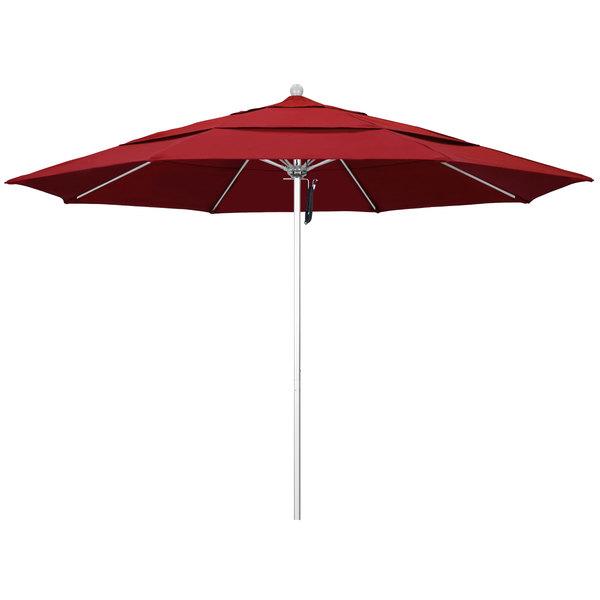"Jockey Red Fabric California Umbrella ALTO 118 OLEFIN Venture 11' Round Pulley Lift Umbrella with 1 1/2"" Silver Anodized Aluminum Pole - Olefin Canopy"