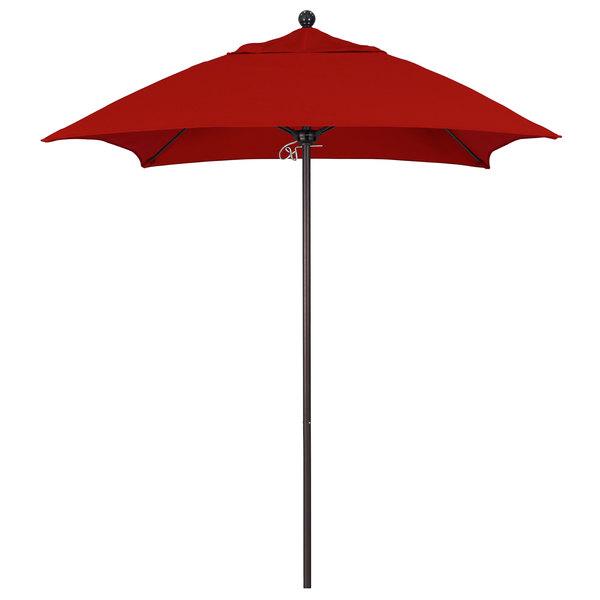 "Jockey Red Fabric California Umbrella ALTO 604 SUNBRELLA 2A Venture 6' Square Push Lift Umbrella with 1 1/2"" Bronze Aluminum Pole - Sunbrella 2A Canopy"