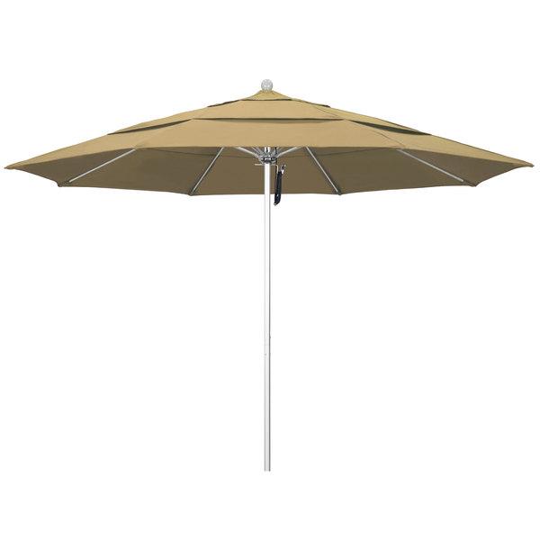 """Champagne Fabric California Umbrella ALTO 118 OLEFIN Venture 11' Round Pulley Lift Umbrella with 1 1/2"""" Silver Anodized Aluminum Pole - Olefin Canopy"""