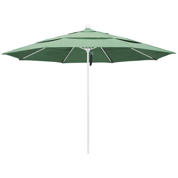 """Spa Fabric California Umbrella ALTO 118 PACIFICA Venture 11' Round Pulley Lift Umbrella with 1 1/2"""" Matte White Aluminum Pole - Pacifica Canopy"""