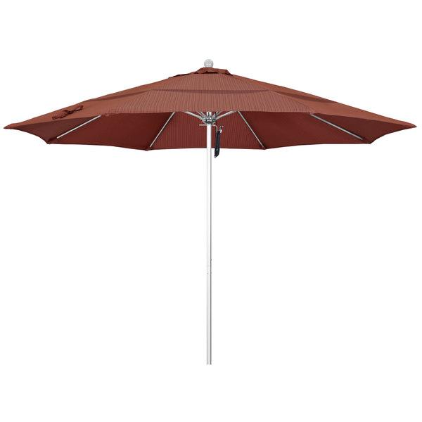 """Terrace Adobe Fabric California Umbrella ALTO 118 OLEFIN Venture 11' Round Pulley Lift Umbrella with 1 1/2"""" Silver Anodized Aluminum Pole - Olefin Canopy"""