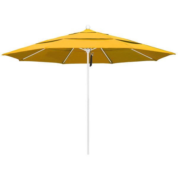 """Yellow Fabric California Umbrella ALTO 118 PACIFICA Venture 11' Round Pulley Lift Umbrella with 1 1/2"""" Matte White Aluminum Pole - Pacifica Canopy"""