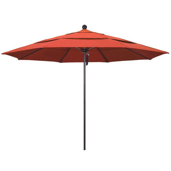 "Sunset Fabric California Umbrella ALTO 118 OLEFIN Venture 11' Round Pulley Lift Umbrella with 1 1/2"" Bronze Aluminum Pole - Olefin Canopy"