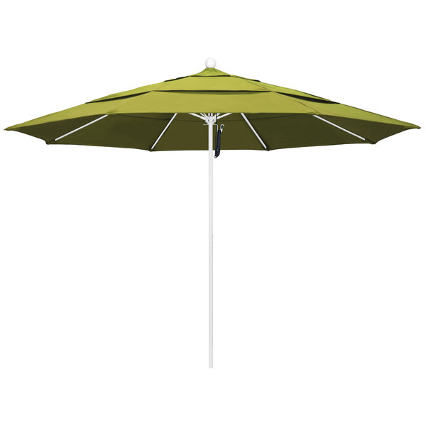 "Kiwi Fabric California Umbrella ALTO 118 OLEFIN Venture 11' Round Pulley Lift Umbrella with 1 1/2"" Matte White Aluminum Pole - Olefin Canopy"