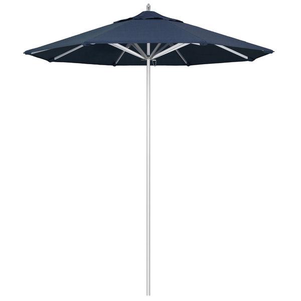 "Spectrum Indigo Fabric California Umbrella AAT 758 SUNBRELLA 1A Rodeo 7 1/2' Round Push Lift Umbrella with 1 1/2"" Aluminum Pole - Sunbrella 1A Canopy"