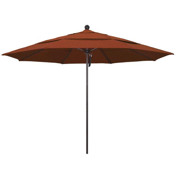"Terracotta Fabric California Umbrella ALTO 118 OLEFIN Venture 11' Round Pulley Lift Umbrella with 1 1/2"" Bronze Aluminum Pole - Olefin Canopy"