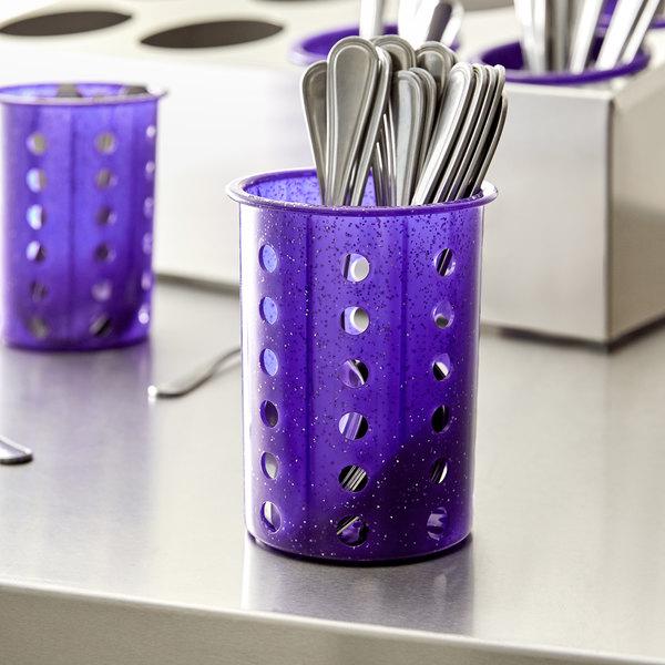 Steril-Sil RP-25-PURPLE Purple Perforated Plastic Flatware Cylinder Main Image 2