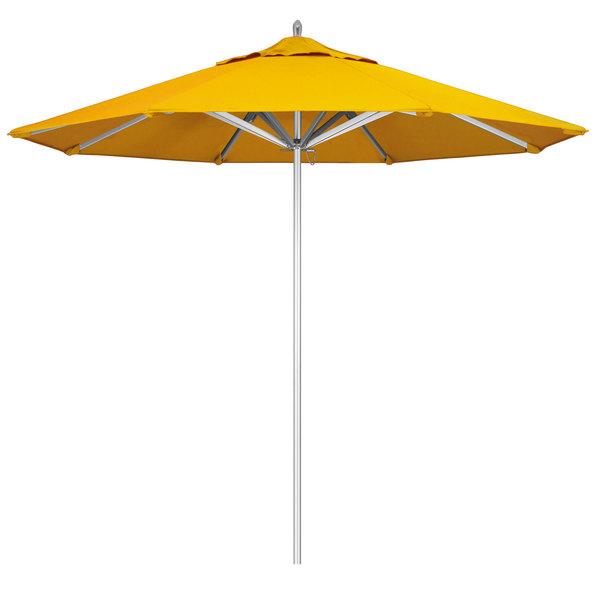 "Sunflower Yellow Fabric California Umbrella AAT 908 SUNBRELLA 1A Rodeo 9' Round Push Lift Umbrella with 1 1/2"" Aluminum Pole - Sunbrella 1A Canopy"