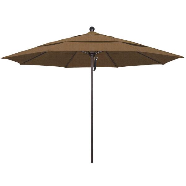 "Woven Sesame Fabric California Umbrella ALTO 118 OLEFIN Venture 11' Round Pulley Lift Umbrella with 1 1/2"" Bronze Aluminum Pole - Olefin Canopy"