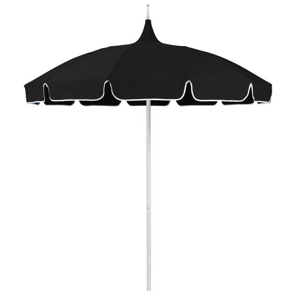 "Black Fabric California Umbrella SMPT 852 SUNBRELLA 1 Pagoda 8 1/2' Round Push Lift Umbrella with 1 1/2"" Aluminum Pole - Sunbrella 1A Canopy with Natural Braid"