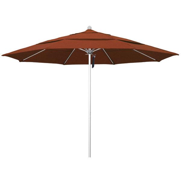 """Terracotta Fabric California Umbrella ALTO 118 OLEFIN Venture 11' Round Pulley Lift Umbrella with 1 1/2"""" Silver Anodized Aluminum Pole - Olefin Canopy"""