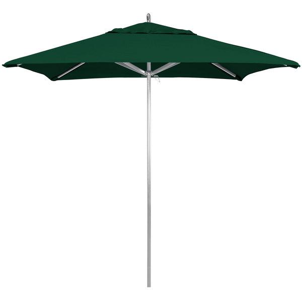 "Forest Green Fabric California Umbrella AAT 75754 SUNBRELLA 1A Rodeo Customizable 7 1/2' Square Push Lift Umbrella with 1 1/2"" Aluminum Pole - Sunbrella 1A Canopy"