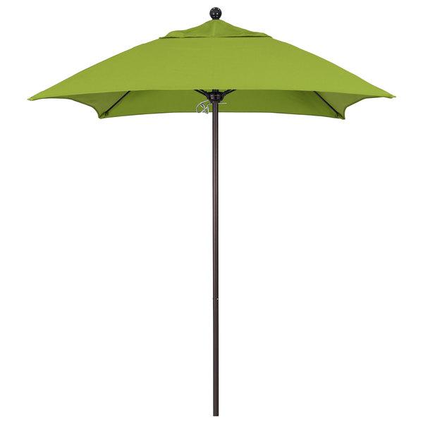 "Macaw Fabric California Umbrella ALTO 604 SUNBRELLA 2A Venture 6' Square Push Lift Umbrella with 1 1/2"" Bronze Aluminum Pole - Sunbrella 2A Canopy"