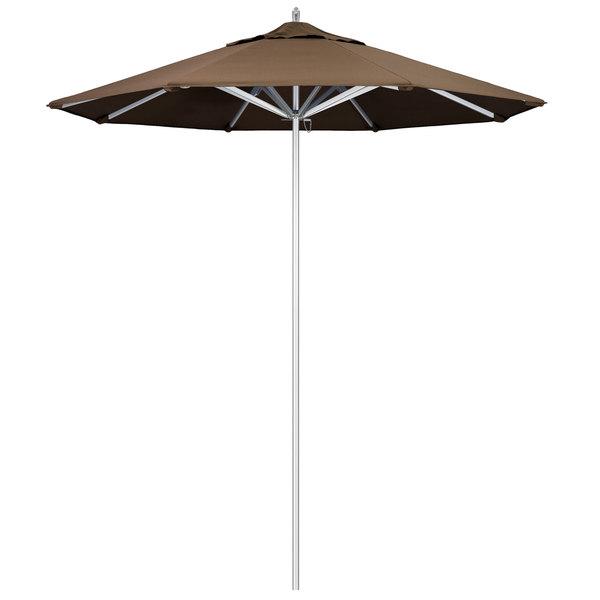 "Cocoa Fabric California Umbrella AAT 758 SUNBRELLA 1A Rodeo Customizable 7 1/2' Round Push Lift Umbrella with 1 1/2"" Aluminum Pole - Sunbrella 1A Canopy"