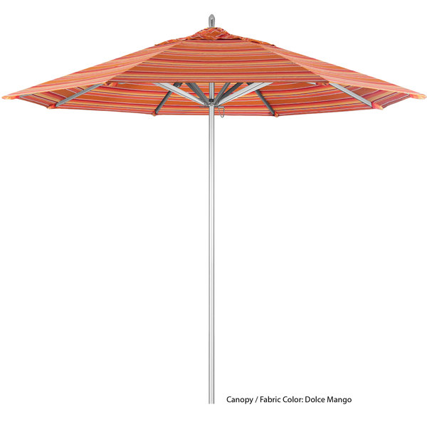 "California Umbrella AAT 908 SUNBRELLA 1A Rodeo Customizable 9' Round Push Lift Umbrella with 1 1/2"" Aluminum Pole - Sunbrella 1A Canopy"