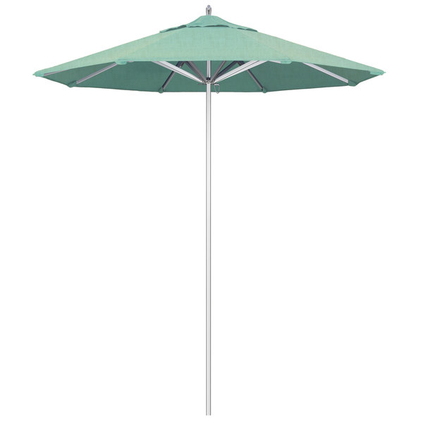 "Spectrum Mist Fabric California Umbrella AAT 758 SUNBRELLA 1A Rodeo 7 1/2' Round Push Lift Umbrella with 1 1/2"" Aluminum Pole - Sunbrella 1A Canopy"
