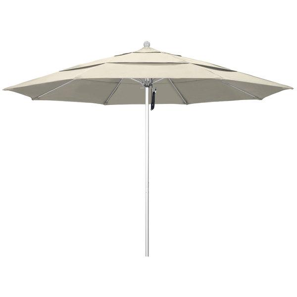 """Beige Fabric California Umbrella ALTO 118 OLEFIN Venture 11' Round Pulley Lift Umbrella with 1 1/2"""" Silver Anodized Aluminum Pole - Olefin Canopy"""