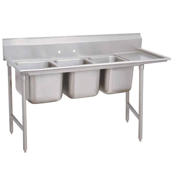 """Right Drainboard Advance Tabco 93-3-54-36 Regaline Three Compartment Stainless Steel Sink with One Drainboard - 95"""""""